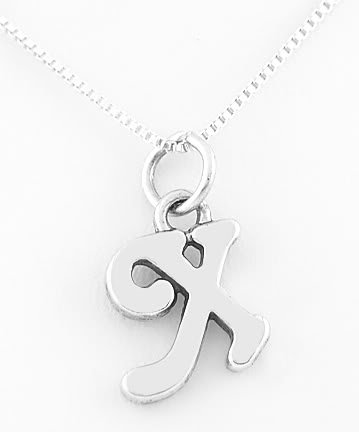 STERLING SILVER LETTER X CHARM WITH NECKLACE 16""