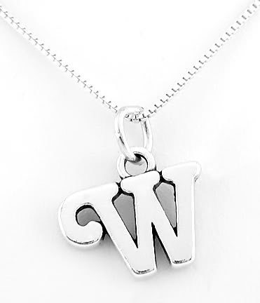 STERLING SILVER LETTER W CHARM WITH NECKLACE 16""