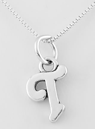 """STERLING SILVER LETTER T CHARM WITH NECKLACE 16"""""""