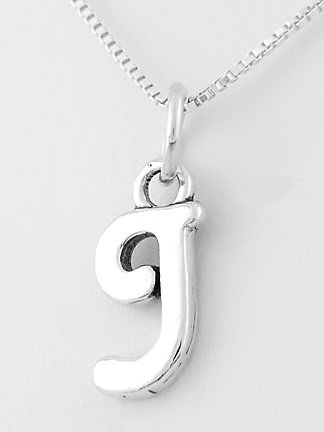 """STERLING SILVER LETTER J CHARM WITH NECKLACE 16"""""""