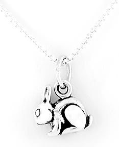 STERLING SILVER BUNNY RABBIT CHARM NECKLACE