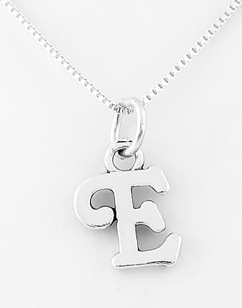 STERLING SILVER LETTER E CHARM WITH NECKLACE