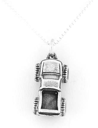 STERLING SILVER MONSTER TRUCK 3D CHARM WITH NECKLACE