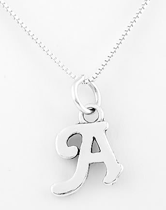STERLING SILVER LETTER A CHARM WITH NECKLACE