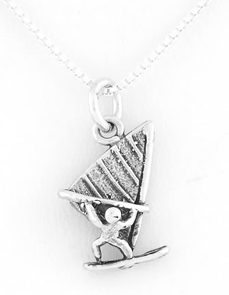 STERLING SILVER WINDSURFER CHARM WITH NECKLACE
