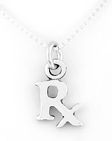 STERLING SILVER RX SYMBOL CHARM NECKLACE