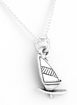 STERLING SILVER SAILBOAT CHARM WITH 16 INCH BOX CHAIN NECKLACE