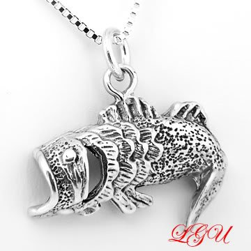 """STERLING SILVER OPEN MOUTH BASS FISH CHARM WITH 16"""" NECKLACE"""