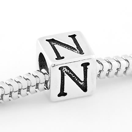 STERLING SILVER BLOCK LETTER INITIAL N CUBE CHARM