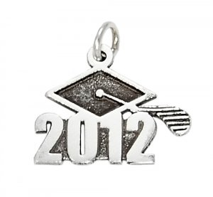 STERLING SILVER CLASS OF 2012 GRADUATION CHARM/PENDANT