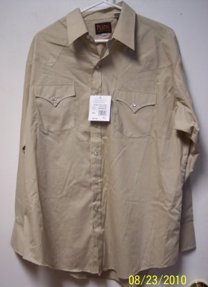 Mens Solid Ecru Plains Western  LS Shirt Size XL NWT