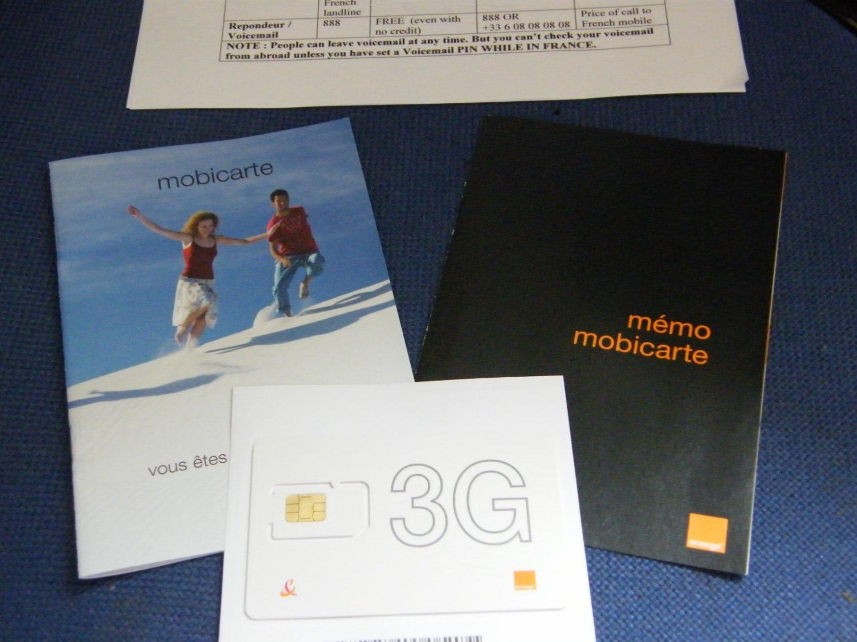 French SIM Card Mobicarte Orange ACTIVE France 5�credit
