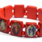 Red Jesus Bracelet/Armband with Saints and Religious Icons wood panels