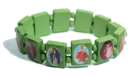 Green Jesus Bracelet/Armband with Saints and Religious Icons wood panels