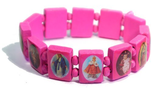 Pink Jesus Bracelet/Armband with Saints and Religious Icons wood panels