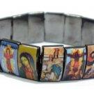 Metal Jesus Bracelet/Armband with Saints and Religious Icons