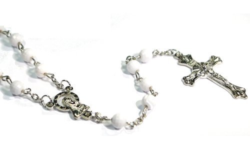 White Pearl Fashion Rosary Necklace