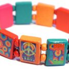 Summer of Love Peace Bracelet/Armband with wood panels