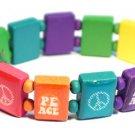 Peace Logo Bracelet/Armband with wood panels