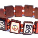 Rock Peace Bracelet/Armband with wood panels