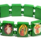 Dark Green Jesus Bracelet/Armband with Saints and Religious Icons wood panels