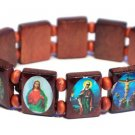 Brown Jesus Bracelet/Armband with Saints and Religious Icons wood panels