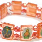 Red 'Crystal' Jesus Bracelet/Armband with Saints and Religious Icons