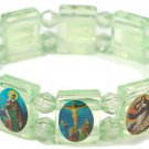 Green 'Crystal' Jesus Bracelet/Armband with Saints and Religious Icons