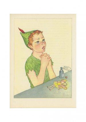 Peter Pan, Vintage Print, Peter Prays for Tinkerbell