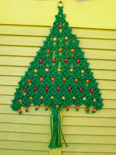 VIintage 1970s Green Macrame Christmas Tree Wall Hanging With Wooden Beads