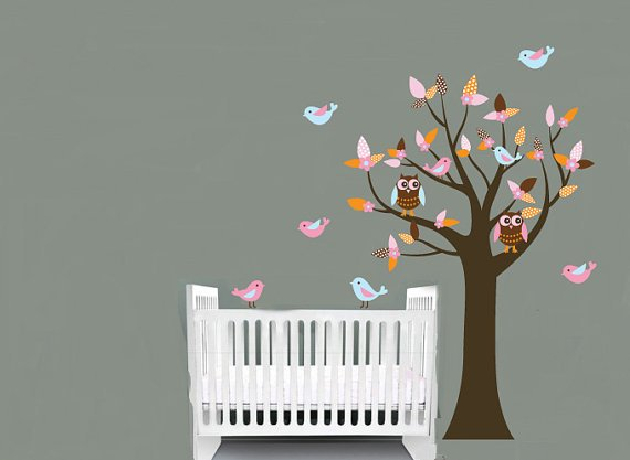 Nursery Kids tree vinyl wall decal with 2 owls and 8 birds pattern leaves