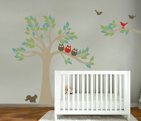 Kids tree and tree branch set vinyl wall decal with birds owls