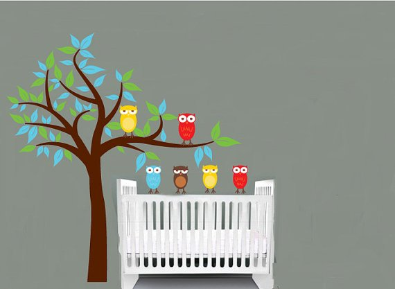 Kids Tree with 2 owls and set of 4 FREE owls you can use for tree or a branch or along a crib wall