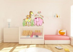Kids vinyl wall decal Elephant Giraffe Monkey coordinates with Cocalo Jacana nursery bedding