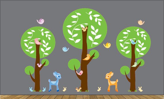 Kids Set 3 circle round tree birds owls squirrels baby deer bunny grass vinyl wall decal for nursery