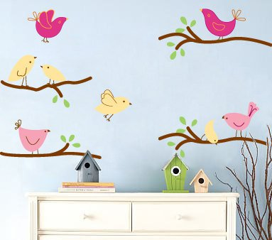 Kids tree branch set of 4 vinyl wall decal with 8 penelope birds