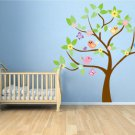 Kids tree vinyl wall decal with birds and garden daisy flowers and butterfly