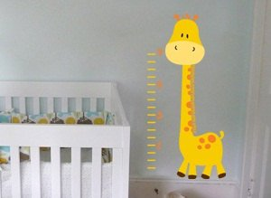 kids vinyl wall decal Toby the giraffe growth Chart great for nursery or kids room