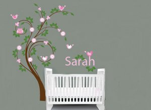 Kids swirl tree with initial monogram name with owl and birds flowers nursery vinyl wall decal
