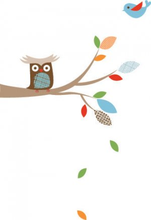 Kids tree branch with falling leaves vinyl wall decal with birds owls and pattern leaves