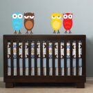 Kids set of 4 owls you can use for tree or a branch or along a crib/bed vinyl wall decal