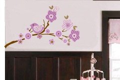 Kids tree branch vinyl wall decal in lilac purple coordinates with BananaFish Migi Blossom bedding