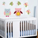 Kids nursery set of 2 owls and 6 butterflies vinyl wall art decal