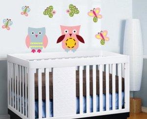 Kids nursery set of 2 owls and 6 butterflies vinyl wall art decal