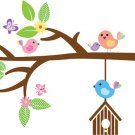 Kids tree branch vinyl wall decal with garden daisy and birds and butterfly