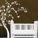 Kids swirl tree with initial monogram name with owl and birds flowers vinyl wall decal