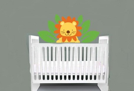 childrens removable vinyl wall decal Lion in leaves great for any nursery kids room or playroom