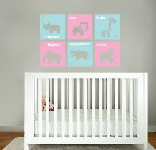 kids childrens Modern animal squares with letter and name vinyl wall decal girls nursery