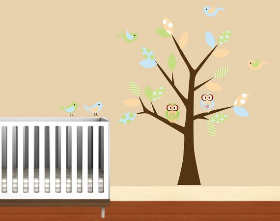 Kids tree vinyl wall decal with birds owls and pattern leaves so sweet for any nursery