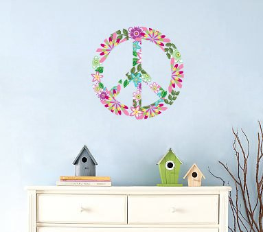 Kids Peace sign vinyl wall decal flowers leaves